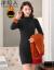 洋稲人ハーフタートルネセンス女秋冬中ローグ2019新着品韩国フューチャーのセットヘッドにボア厚保温レインブラックの裏ボアM