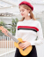 三彩2019冬新着品ラウドネク長袖打色ストライプニコ直筒プロバールセパレーという女性本ホワイトM/80