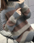布笙记タートルネク女冬款韩国ファッショの中でロングーの头縞模様ニティ女2019新着品レイディーズ学生の怠惰风女史レインコート女性灰色M