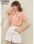 服の香丽影2020夏装韩国ファンシー半袖ニコト女史薄手セター洋服の上着オレンジピンクM