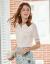 olran欧ルイ2020年夏服新品レディ半袖ニットブラウスホワイトカラー薄手ポロネックTシャツ洋気小さいシャツホワイト色M