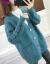 熙依芙ni tr女2020秋冬新着品night ka-de gan女韓国ファ·ションゆるの洋気外挂ポケット麻花怠惰風セパレータ外套青色M