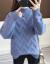赤とんぼニート女2020年秋冬新着品韓国ファンシーハーフタートルネック服ブルーフリンジを着ています。