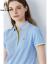 Hush Puppies暇步士レディース服2021新夏季撞色条纹短袖POLO衫HE-21313D 116淡蓝 XL
